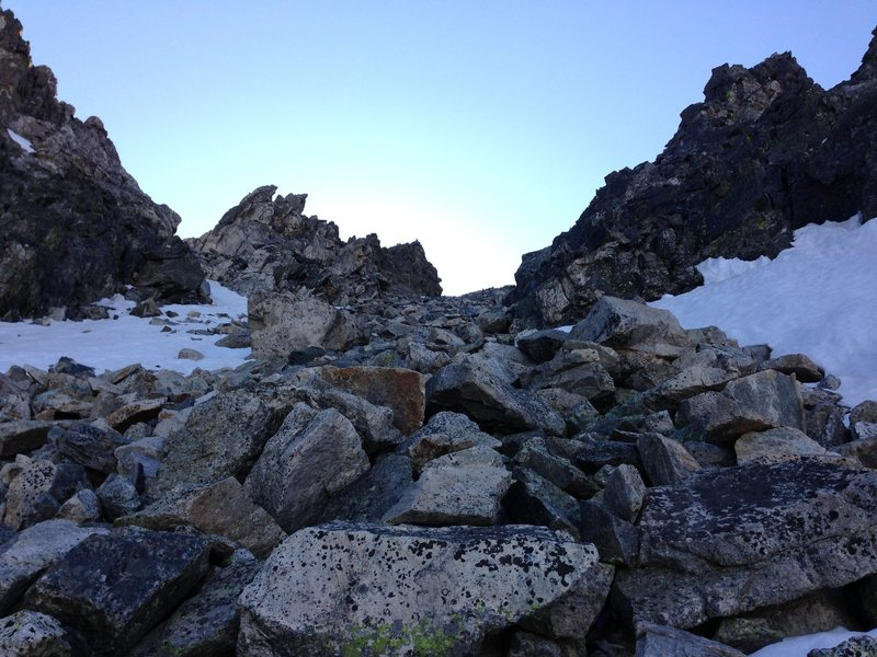 """Around 1000 ft of excellent quality snow climbing, the last 400 ft or so is all scree and boulders, while you """"could"""" snow climb on the sides for another 200 ft or so."""