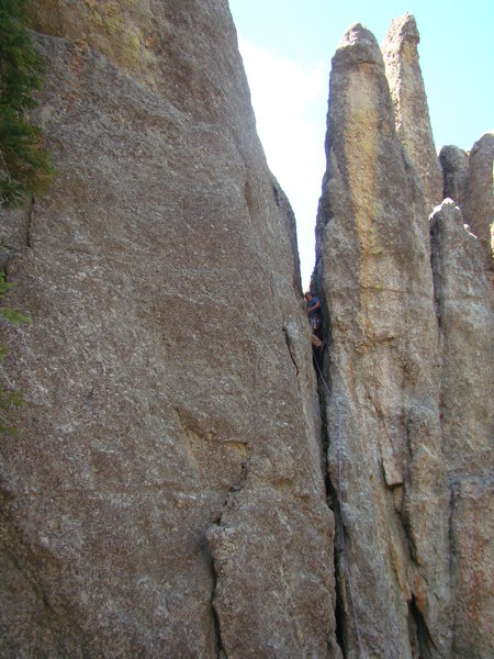 Rock Climbing Photo: A neat chimney squeeze route just to the right of ...