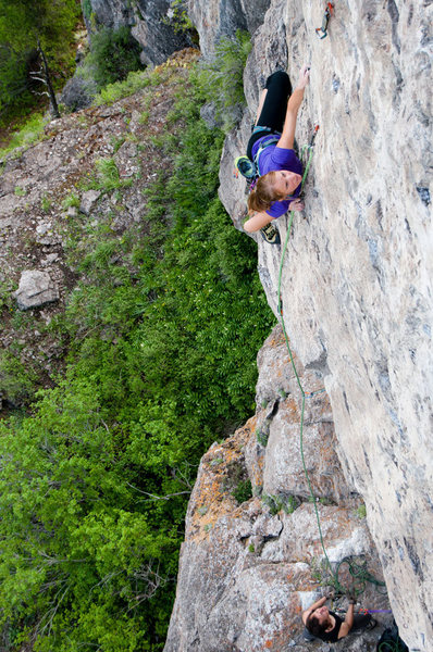 Melissa is keeping it cool while dispatching another mega classic route in Logan canyon.