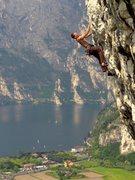 Rock Climbing Photo: Climbing at the Belvedere crag near Nago, Italy wi...