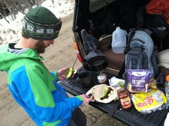 Snowy tailgate tacos. Is there anything better?