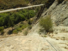 """Rock Climbing Photo: Looking down the slab pitch of """"Footprints.&q..."""