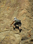 """Rock Climbing Photo: Puling past the 2nd bolt on """"Snickerdoodle.&q..."""