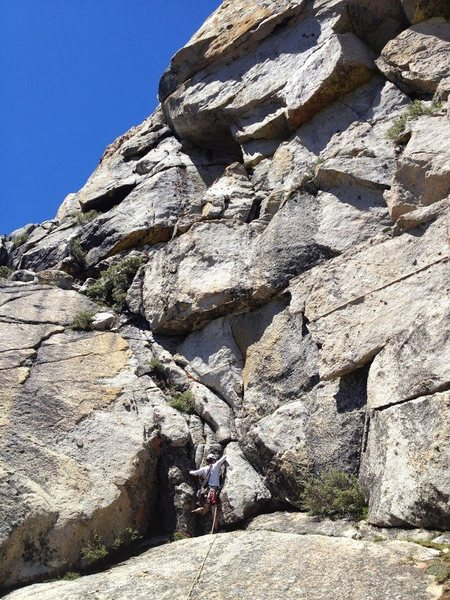 """""""Pitch 0"""" of the Ramp. Amy is about to make a 5.7ish move, followed by class 4 scrambling to the base of the climb."""