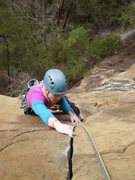 Rock Climbing Photo: Mary enjoying the P2 crux.