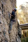 Rock Climbing Photo: Lock-off and reach. Aha!