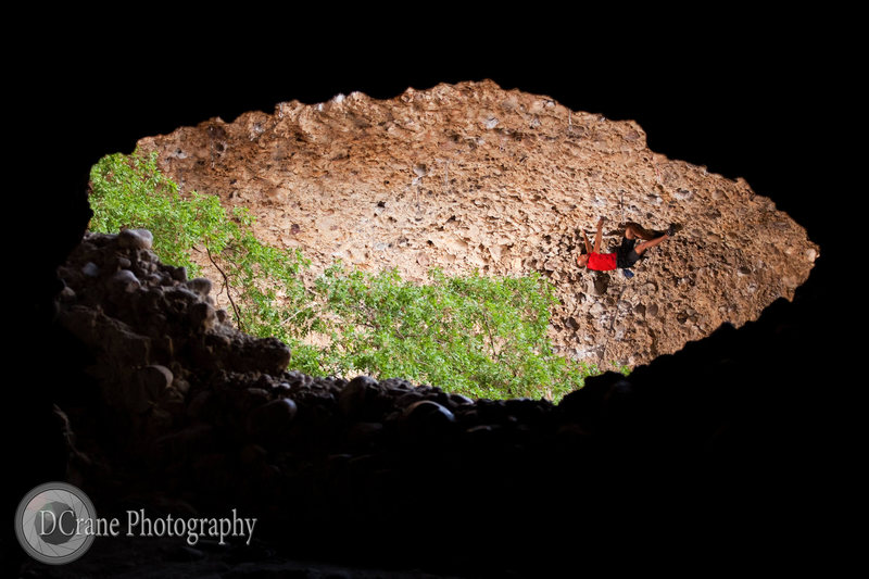 Rock Climbing Photo: Sprout (5.13a) from inside the cave near Pipe Drea...