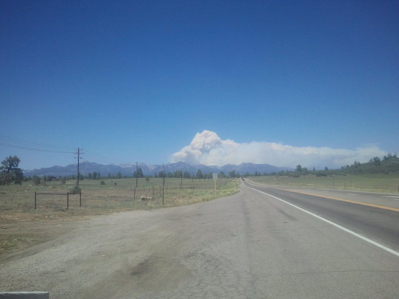 West Fork fire outside of Pagosa Springs<br> I'm 25 miles away.
