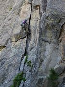 Rock Climbing Photo: Jay doing the crux of the first pitch all wrong.