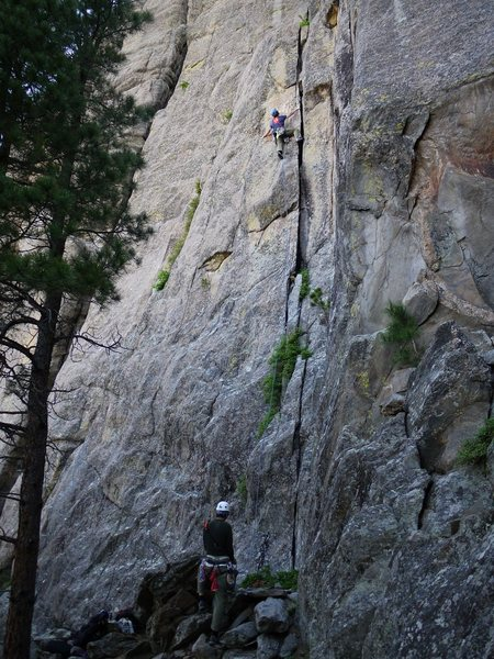 Jay higher up on the first pitch.  The councilman on the belay.