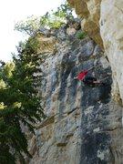 Rock Climbing Photo: SteveZ through the crux on jugs.