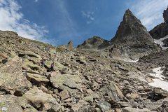 Rock Climbing Photo: Crossing the sea of talus...