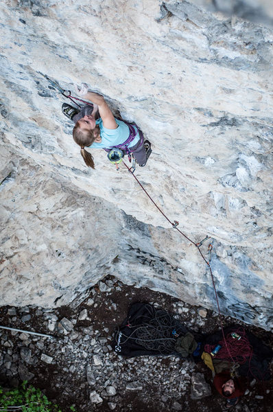 "Melissa working on the notorious ""turn"" crux move on Soul Crusher. This move is height dependent for sure, yet easy for no one."