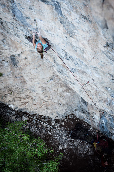 Rock Climbing Photo: Melissa showing how to clip mid crux on Soul Crush...