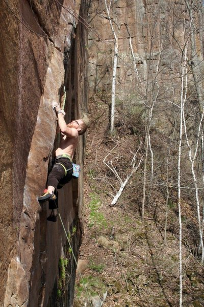 Tyler working the crux weeks before the FA.