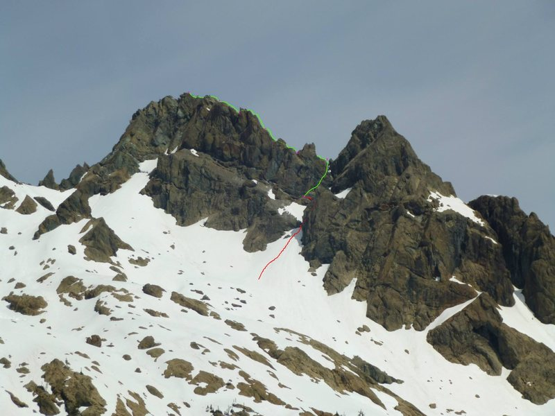 Looking at Ingalls Peak with the route highlighted. X marks belay spots.