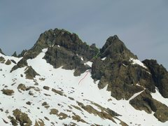 Rock Climbing Photo: Looking at Ingalls Peak with the route highlighted...