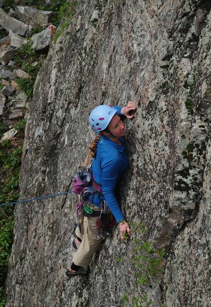 "Rock Climbing Photo: Jenny starting up ""Magic Theatre"" (5.8 *..."