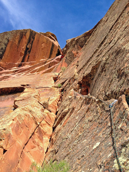 Rock Climbing Photo: A view from the pitch 2 belay. Lucas is in red and...