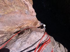 Rock Climbing Photo: The .12-, 30' corner pitch with fixed nuts near th...