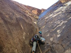 Rock Climbing Photo: Leading Pitch 3 & what I considered to be the crux...
