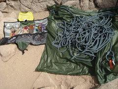 "Rock Climbing Photo: Big 60""x60"" tarp with loops to keep trac..."