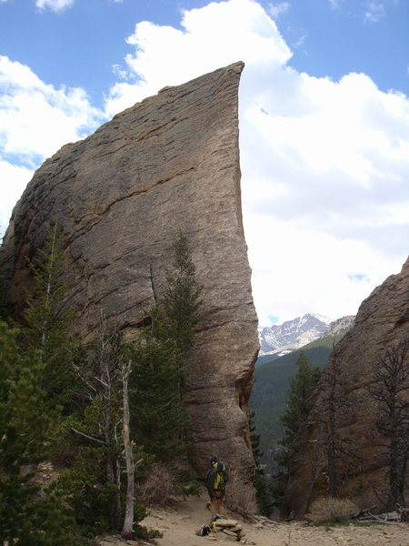 """Cragging Pack at """"The Edge of Time"""" (with me attached to it)."""