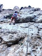 Rock Climbing Photo: Climber on 1st of 2 overhangs.  2nd is harder then...
