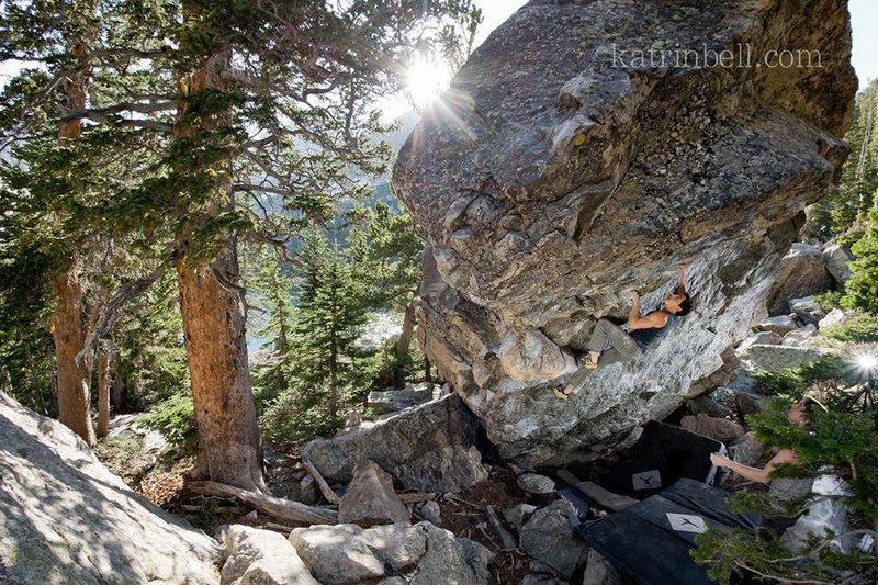 Me working Deep Puddle Dynamics. Amazing boulder problem.<br> <br> Photo credit : Katrin Bell.