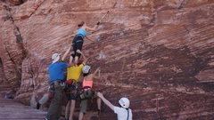 Rock Climbing Photo: high first bolt meet circus school
