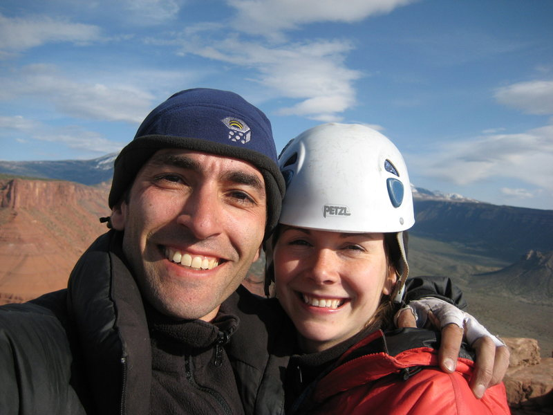Rock Climbing Photo: Atop Castleton Tower.  I popped the question.  She...