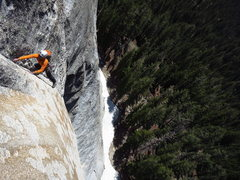 Rock Climbing Photo: James works his way through the sustained laybacki...