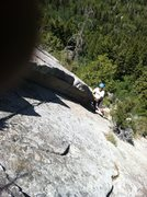 Rock Climbing Photo: Coming up on the layback top of pitch 2.