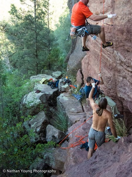 Rock Climbing Photo: AC at the bottom of the fall on his first attempt ...