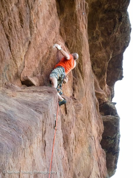AC Past the crux on his second attempt.
