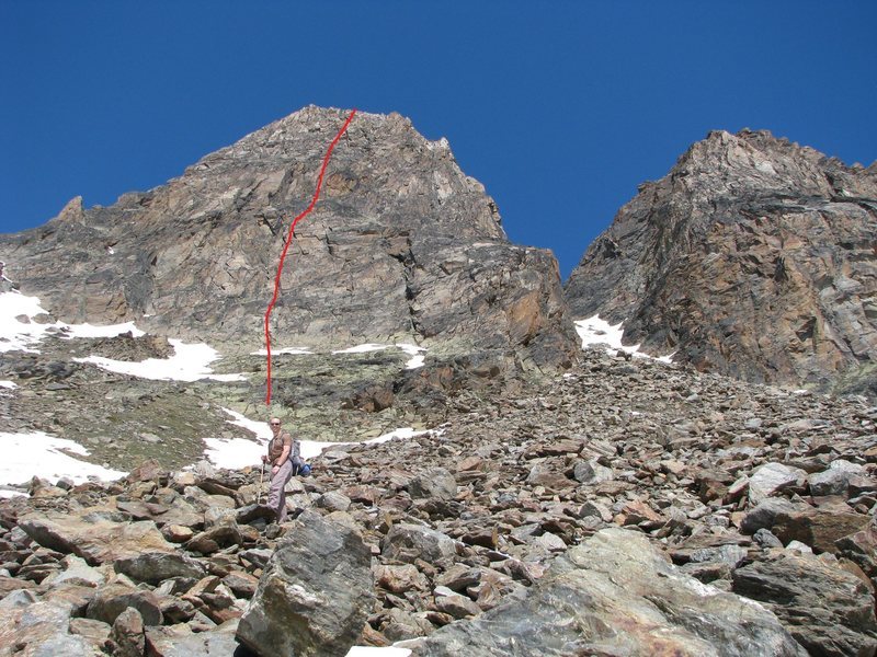 Way, way bigger than it looks in the pictures.  It's an honest 1150' of 5th classing, with another 350' of scrambling to get to the start.