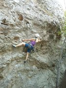 """Rock Climbing Photo: Working the pockets on """"Moonshiner."""""""