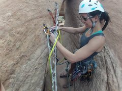 Rock Climbing Photo: About to rappel off of the Looking Glass. Followed...
