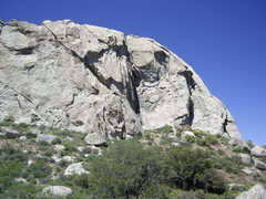 Rock Climbing Photo: Crack starts at center and follows the obvious lef...
