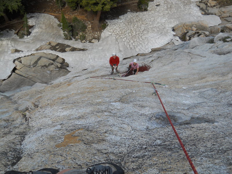 Rock Climbing Photo: looking down pitch two