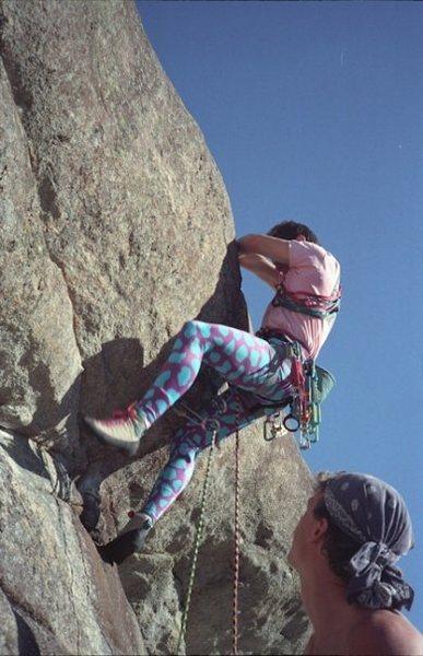 Rock Climbing Photo: Pulling the roof on B-52, circa 1990.