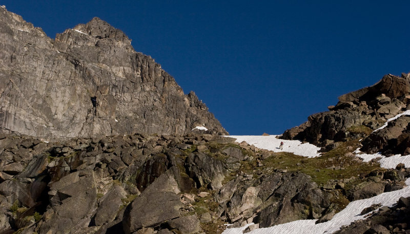 Rock Climbing Photo: Approaching the NE Ridge of Mount Cowen.