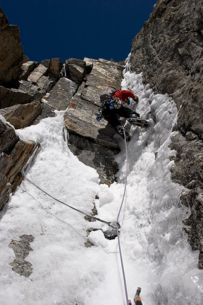 Rock Climbing Photo: Thin ice on the second pitch.