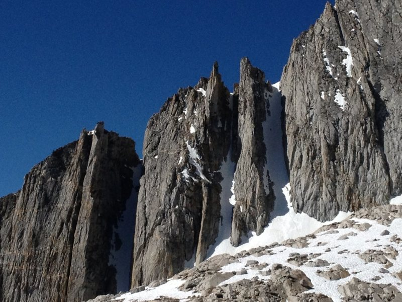 Rock Climbing Photo: North Peak couloirs looking solid still ...
