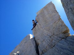 Rock Climbing Photo: The lower handcrack and stance where you clip the ...
