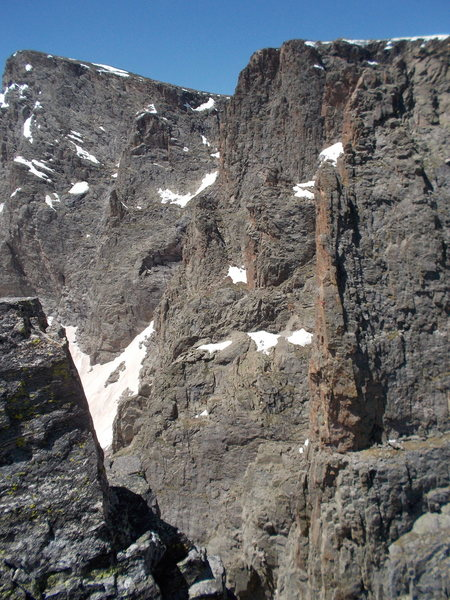 Josh nearing the end of pitch 3. Photo: Ben Chapman from the Summit of Sharkstooth. You may have to zoom in a bit to see him.