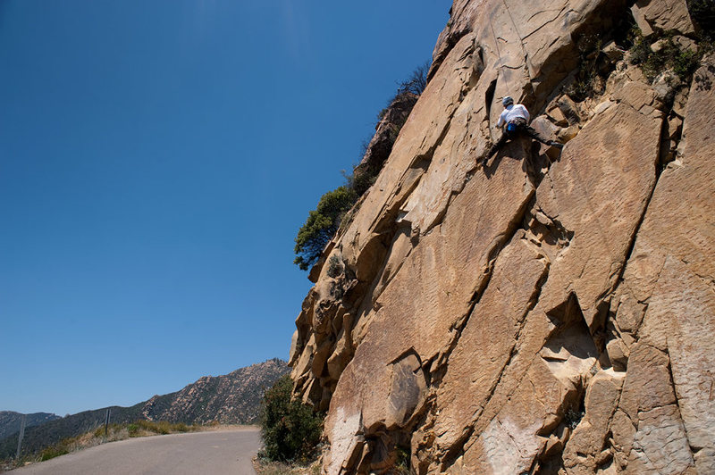 Bruce climbs California Flake (the Bolt Ladder Wall at Gibraltar Rock)