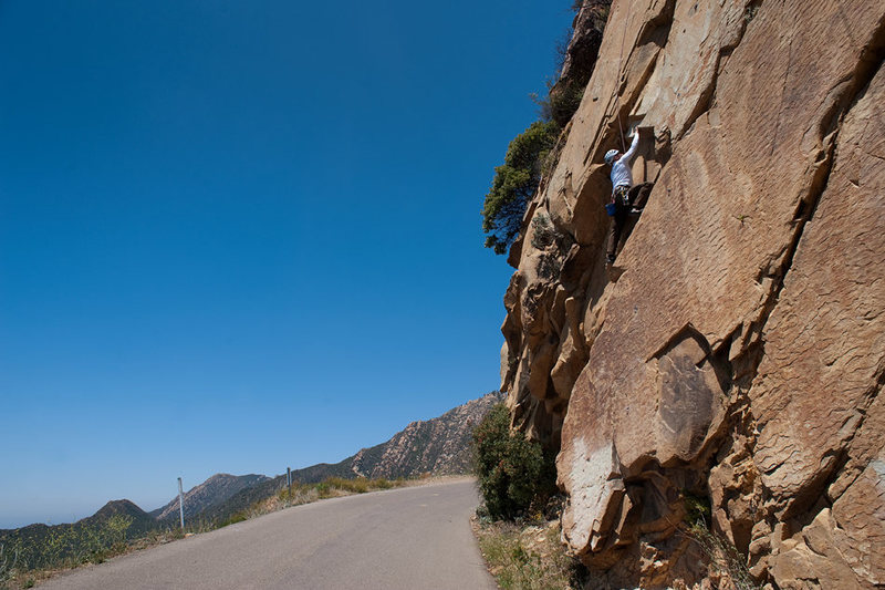 Bruce climbs one the many free variations of the Bolt Ladder, near Gibraltar Rock.