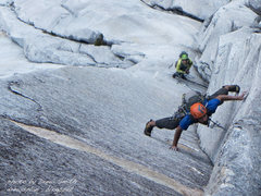 Rock Climbing Photo: Chance Traub leading the crux pitch on Positive Af...