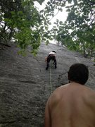 Rock Climbing Photo: looking up pulp friction after clipping the first ...